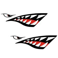 1pair Left Right 38 13cm Waterproof Diy Funny Shark Teeth Mouth Vinyl Bargain Industries