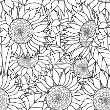 Seamless Sunflowers Bouquet Vector Coloring Book Page For Adults