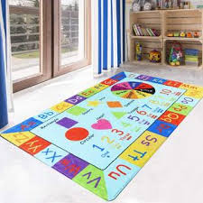 Brand Livebox Livebox Play Mat Faux Wool Kids Play Area Rugs 4 X 6 Non Slip Childrens Carpet Abc Number And Color Educational Learning