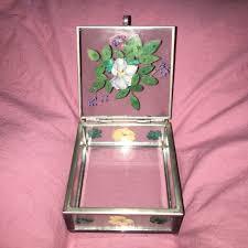 pressed flower glass jewelry box