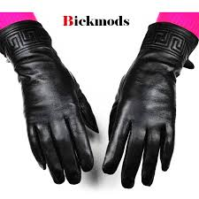 black leather gloves embroidery pattern