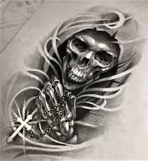 The Grim Reaper With Rosary Beads Tattoo Design Rysunki Czaszek
