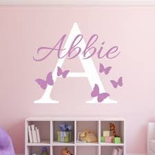 Custom Name Initial Butterflies Wall Decal Girls Name Personalized Decal Baby Nursery Room Decor Vinyl Art Wall Sticker W 7 Butterfly Wall Decals Art Wall Stickername Wall Stickers Aliexpress