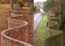 In England You Sometimes See These Wavy Brick Fences And Curious As It May Seem This Shape Uses Fewer Bricks Than A Straight Wall A Straight Wall Needs At Least Two Layers