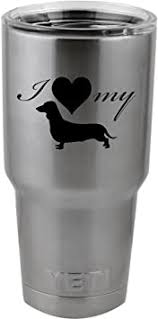 Amazon Com I Love My Dachshund Weiner Dog Silhouette Heart Vinyl Sticker Decal For Yeti Mug Cup Thermos Pint Glass 4 Wide Decal Only No Cup Automotive