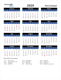 2020 calendar new zealand with holidays
