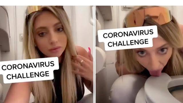 Buat Aksi Challenge Virus Corona, Wanita Ini Jilat Toilet Pesawat, Jangan Ditiru!