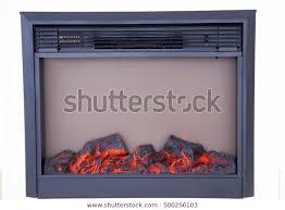 fireplace burning stock photo