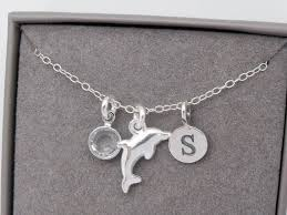 pendant necklace silver dolphin