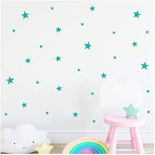Amazon Com Stars Assorted Self Adhesive Vinyl Wall Pattern Decal Stickers Set Of 300 Turquoise Home Kitchen