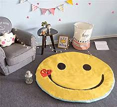 Amazon Com Yevem Ultra Soft Round Rugs For Kids Bedroom Emoji Smile Yellow Kids Baby Room Carpets Children Teepee Play Mat Machine Washable Home Decor Rugs 4 Feet Style A Furniture Decor
