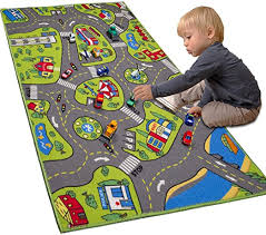 Amazon Com Large Kids Carpet Playmat Rug 32 X 52 With Non Slip Backing City Life Play Mat For Playing With Car Toy Game Area For Baby Toddler Kid Child Educational Learn Road Traffic