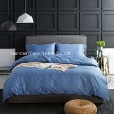 solid blue color sateen bedding set