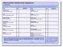 pre closing check list real estate