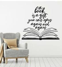 Vinyl Wall Decal Quote Open Book Literature Reading Room Stickers Mural G1065 Ebay