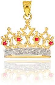 10k yellow gold ruby and diamond tiara
