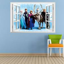 In Stock 2014 Frozen Elsa Anna Princess 3d Window View Cartoon Decal Wall Sticker Pvc Home Decor 45x60cm Wall Stickers For The Home Wall Stickers Home From Jwlry31 4 03 Dhgate Com