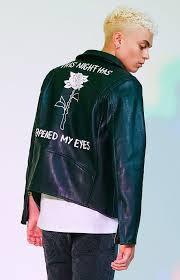 tri back art moto faux leather jacket