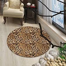 small round rug carpet leopard print