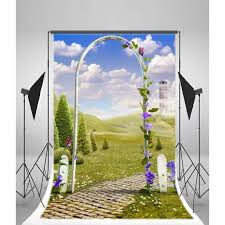 Hellodecor Polyester Fabric Fairy Tale Backdrop 5x7ft Florets Arch Fence Brick Ground Blue Sky Clouds Tower Grass Land Photography Background Video Studio Props Children Baby Kids Portraits Walmart Com Walmart Com
