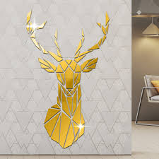 Geometric Deer Head Acrylic Mirror Stickers Hunting Modern Home Decor Antler Deer Head Wall Art Stickers Decal Deer Hunters Gift Buy At The Price Of 9 91 In Aliexpress Com Imall Com