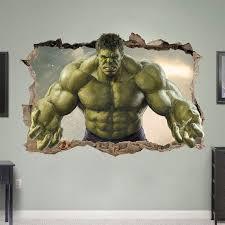 Hulk 3d Wall Sticker Smashed Bedroom Green Hero Kids Decor Vinyl Removable Art Decal Home Room Mural Avenge Wall Stickers Bedroom Wall Sticker Avengers Bedroom