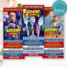 Invitacion De Boleto De Cumpleanos De Forky Toy Story Para