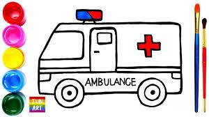 Drawing And Coloring Ambulance   Vẽ Và Tô Màu Xe Cứu Thương