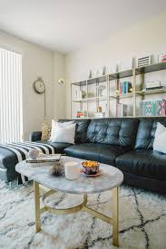 living room black leather sofa