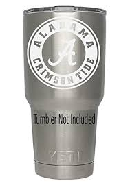 Alabama Crimson Tide White Decals For Yeti Cups Car Sticker Car Decal Window Sticker For Tumbler Cup Car Truck Wall Notebook Suv Computer Laptop Motorcycle Helmet White Amazon In Car
