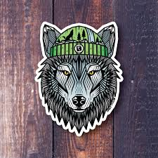 Wolf Stickers Geometric Wolf Snowboard Stickers Outdoorsy Sticker Mountain Sticker Cool Sticker Geometric Wolf Vinyl Art Stickers Wolf Illustration