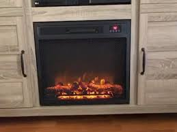 light brown rustic electric fireplace