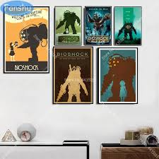 Bioshock Rapture Video Game Poster Retro Kids Gift Canvas Painting Posters And Prints Wall Art Picture Living Room Home Decor Painting Calligraphy Aliexpress