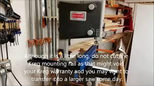 Kreg Precision Bandsaw Fence On An Inexpensive 10 Bandsaw Youtube