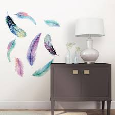 Wall Pops Multi Color Celestial Feathers Wall Art Kit Dwpk2462 The Home Depot