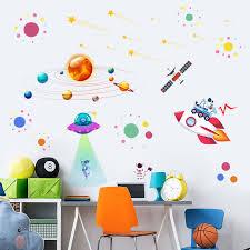 3d Universe Space Wall Decals Star Planet Vinyl Wall Sticker Nursery Decor Space Adventure Decals Vinyl Mural Kids Room Wall Art Wall Stickers Aliexpress