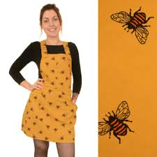 bee print pinafore dungaree dress