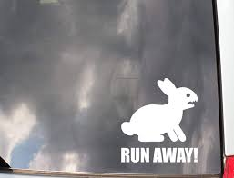 Amazon Com Roxxor Decals Killer Rabbit Of Caerbannog Holy Grail Run Away Precision Cut Vinyl Decal Sticker Not Printed Automotive