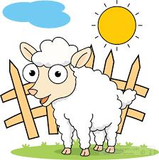 Farm Animals Clipart Big Eyed White Sheep Near Fence Classroom Clipart