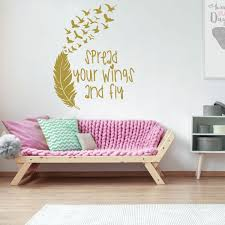 Girls Bedroom Spread Your Wings Fly Vinyl Decor Wall Decal Customvinyldecor Com