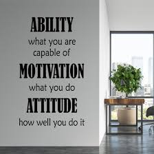 Office Wall Decal Ability Motivation Attitude Motivational Quote
