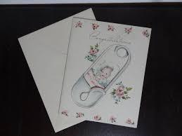 Tarjeta De Felicitacion Vintage Felicidades Llegada Del Bebe Etsy