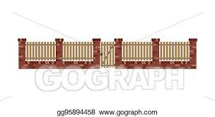 Vector Art Classic Brick Fence With Wood Planks And Gate Clipart Drawing Gg95894458 Gograph