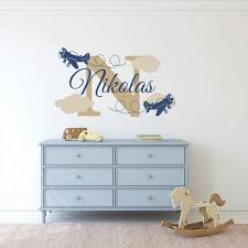 Custom Name Wall Decal Sticker Plane Wall Decal Airplane Etsy