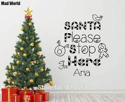 Mad World Christmas Santa Personalised Name Wall Art Stickers Wall Decal Home Diy Decoration Removable Room Decor Wall Stickers Name Wall Stickers Wall Stickerwall Sticker Name Aliexpress