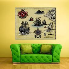Full Color Wall Decals Vinyl Sticker Kids Pirates Ship Old Antique Map Col118 Ebay