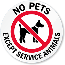 No Pets Except Service Animals Glass Decal Signs Sku Lb 2897