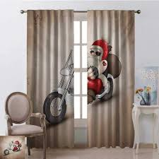 Shenglv Christmas Curtains Bedroom W96 X L96 Inch Red And Cream Curtains Kids Room Rock Grunge Santa With Heart Tattoo On Motorbike Delivery Bikie Peace Theme Brigs Com