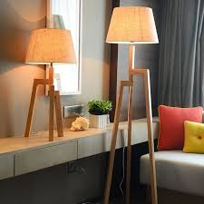 Wooden Tripod Floor Lamp With Lampshade Bedroom Living Room Kids Bed Side Lamp Modern Japanese Floor Lamp Stand Light Fixtures Led Table Lamps Aliexpress