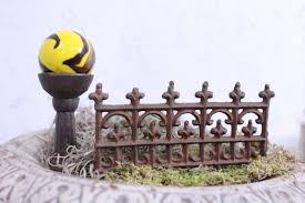 Miniature Gazing Ball And Stand With Cast Iron Fence For Fairy Garden